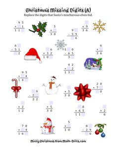 Looking for a Christmas Math Printable. We have Christmas Math Printable and the other about Benderos Printable Math it free. Grade 6 Math Worksheets, Christmas Math Worksheets, Printable Math Worksheets, Printable Numbers, Christmas Printables, Christmas Themes, Christmas Fun, Factor Trees, Logic Problems