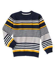 Boys Gym Navy Stripe Striped Sweater by Gymboree. imported and Collection Name: Hometown Hero. Mens Striped Sweater, Gents Sweater, Mens Fashion Sweaters, Color Stripes, Shirt Designs, Gymboree, Knitting, Clothes, Geek Outfit