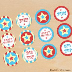 Click here to download FREE Printable Circus Cupcake Toppers!