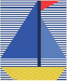 Sailboat paper pieced quilt pattern by ProtoQuilt