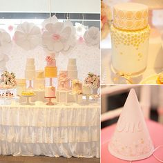 """Sometimes """"pretty"""" is enough of a birthday party theme, as proven by this gorgeous flower-and-cake-filled birthday party thrown by Leanne Ambrogio of Australian event company Sweet Style for 1-year-old Mariette. """"The color palette was soft pinks and blues with a hint of gold, which always look so elegant together,"""" Leanne says. But the stars of this show (beyond the birthday girl, of course) were the nine — yes, nine! — gorgeous birthday cakes, all uniquely decorated with beautiful blooms…"""