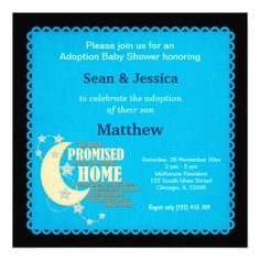 Adoption Baby Shower Boy Personalized Invitation