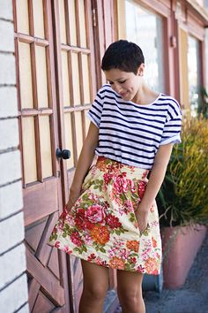 KARLA'S CLOSET Short hair with feminine clothes. Love the striped top with floral print skirt!