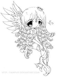 Elyssa Lineart by *YamPuff on deviantART- niña, angel