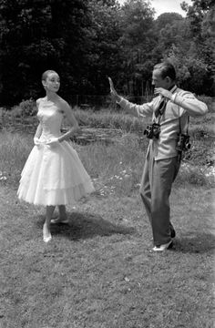 Fred Astaire and Audrey Hepburn on the set of Funny Face (1956). Photo: Willy Rizzo.