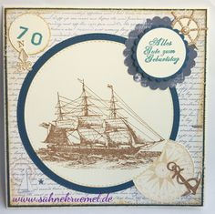 "Greeting card for a man: ""Sail Away (DDRS077)"" Darkroom Door; Designerpaper ""Life by the Sea"" Maja Design; Cardstock Clairefontaine and CraftEmotions; ""XXL-Nest-lies Double stitched cirles"" Crealies; ""Scalloped Circles"" Spellbinders; Sentiment Whiff of Joy; Distress Ink Antique Linen"