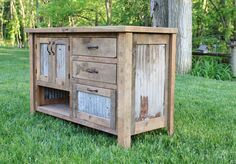 Rustic Vanity 48 Reclaimed Barn Wood w/Barn Tin by Keeriah