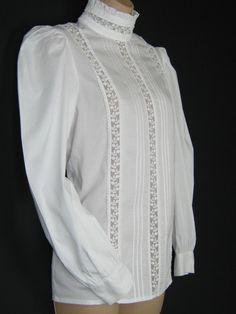 LAURA ASHLEY Vintage Victorian/Edwardian Style High Ruffle Neck Cotton & Lace Blouse, UK 8/10