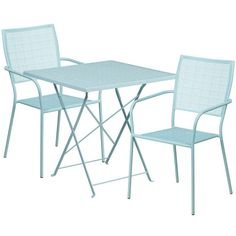 Westbury Square 28'' Sky Blue Steel Folding Table Set w/2 Square Back Chairs for Restaurant/Bar/Pub/Patio, Size 3-Piece Sets, Patio Furniture (Iron)