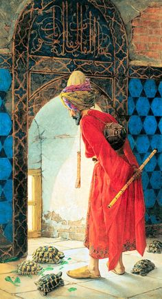 The Tortoise Trainer is a painting by Osman Hamdi Bey which was crafted in 1906 and 1907