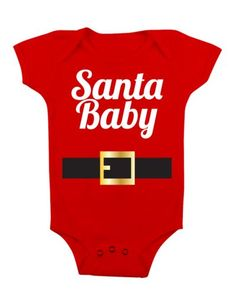 15 charming Santa outfit for baby cute and funny starting from cheerful Santa tutu, Santa style outfit and Santa baby jumper. Baby Christmas Onesie, Baby Christmas Gifts, Christmas Shirts, Christmas Presents, Boy Onesie, Onesies, Santa Baby, Baby Needs, Baby Shirts