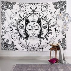 Likiyol Sun and Moon Tapestry Black and White Tapestry Psychedelic Fractal Faces Tapestry Wall Hanging, Durable Easy to Hanging Machine Washable Trippy Tapestry, Psychedelic Tapestry, Tapestry Bedroom, Tapestry Wall Hanging, Psychedelic Decor, Rustic Bedroom Design, Bedroom Decor, Bedroom Designs, Hippie Home Decor