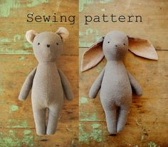 Bunny or bear soft toy sewing pattern / PDF tutorial by willowynn