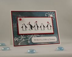 Christmas Card Handmade  Penguin Party Holiday Card  by TrioCards, $4.00