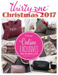 """Christmas with Thirty-One offers Exclusive Holiday Hues, A Touch of Glamour, Travel-Ready Styles and ways to pamper the """"HIM"""" in your life. Check out the ONLINE EXCLUSIVES at MyThirtyOne.com/PiaDavis or look of your consultant in the upper right corner of the website. These items are available for a limited time and quantities are limited. These ONLINE EXCLUSIVE holiday items are available beginning October 1st, 2017."""