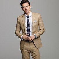 Crew for the Ludlow suit jacket in Irish linen for Men. Find the best selection of Men Suits available in-stores and online. Khaki Suits, Mens Suits, Tan Suit Men, Tan Groom Suits, Khaki Blazer, Tan Guys, Linen Suit, Tuxedo For Men, Groomsmen