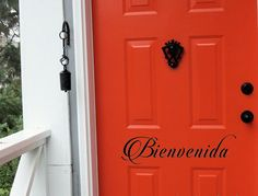 """Show your guests just how glad you are that they are visiting your home! Create a warm welcome with this """"Bienvenida"""" door vinyl decal. Please note the size of this listing as the picture may not show"""