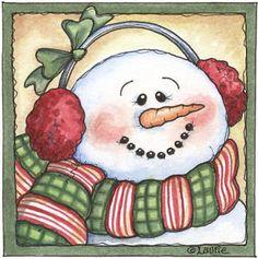Cute snowman with earmuffs