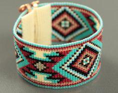 Perla Bohemia telar pulsera nativo americano por PuebloAndCo