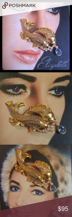 """Elizabeth Taylor Brooch ✨ELIZABETH TAYLOR """"SEA SHIMMER"""" KOI FISH BROOCH✨ Elizabeth Taylor loved figural jewelry & she personally selected & oversaw the designs of her collections📌  -CIRCA 1993 -22 KARAT GOLD PLATED -TOPAZ BLUE TEARDROP -MATTE GOLD FINISH -OPALINE GLASS CABOCHONS -FAUX PEARLS -PIN BACK -DESIGNER EMBLEM STAMPED REFER TO PHOTO #7 -ANTIQUE/COLLECTIBLE -25 YEARS OLD -MINT PRESTINE VINTAGE CONDITION💯 -SIZE 4.25 WIDTH 2.25 TALL -🔴FIRM🔴 elizabeth taylor for avon Jewelry Brooches"""
