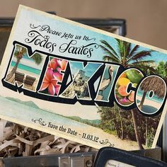 Vintage Large Letter Postcard Save the Date Mexico by beyonddesign, $40.00