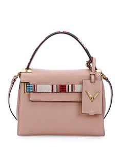 My Rockstud Small Beaded Satchel Bag, Beige by Valentino at Neiman Marcus.