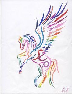 Rainbow Tribal Pegasus by DarkFriesianNight