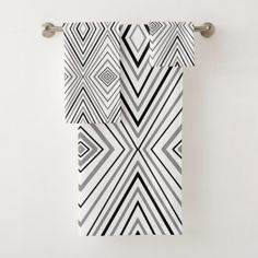 Black White Gray Chevron Pattern Bath Towel Set - modern gifts cyo gift ideas personalize