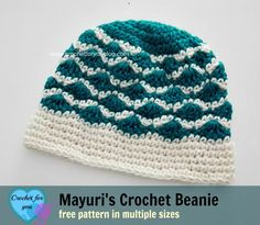 Mayuri's Crochet Beanie - free pattern. This Beanie pattern is available in 3 sizes child, teen and adult.
