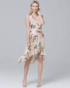 1e259b2d4516 Whbm  Silk Ruffle-Trim  Floral  Dress!
