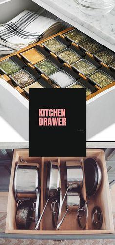 DIY Kitchen Drawer Ideas #diykitchen #kitchendrawers Drawer Inspiration, Drawer Ideas, Drawer Design, Kitchen Drawers, Diy Kitchen, Storage Organization, Cool Kitchens, Kitchen Remodel, Diy Home Decor