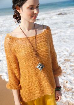 Weiter, kastiger Pullover, Garnpaket zu Modell 7 aus Rebecca Nr. 61, gestrickt aus ggh-Garn SURI ALPAKA & KID