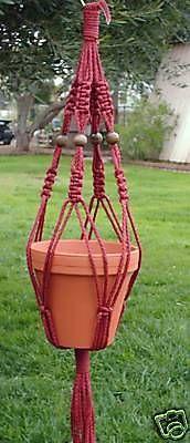 Macrame Plant Hanger 28in Vintage Beaded 6mm Cranberry #Unbranded