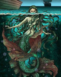 Mermaid under water showing her half face above sirens/merma Fantasy Creatures, Mythical Creatures, Sea Creatures, Mermaid Artwork, Mermaid Drawings, Mermaid Paintings, Siren Mermaid, Mermaid Tale, Tattoo Mermaid