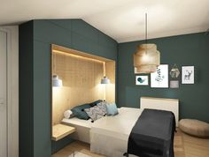 n continue with the rooms? With wood, a shades of green water, . Decor, Room, Bed Design, Interior, Bedroom Interior, Home Decor, Home Deco, Attic Bedroom Designs, Room Paint