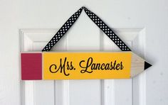 Personalized Wooden Oversized Pencil - Medium - Door Hanger - Teacher Appreciation Gift - School/Classroom/Playroom/Preschool Decor - Yellow on Etsy, $17.99