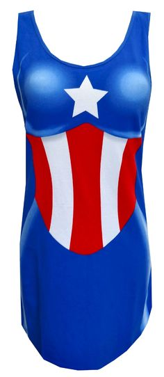 Marvel Comics Captain America Tank Style Night Gown  Wow! You will feel like a superhero when you slip this on this super fun night gown! These pajamas for women resemble Captain America's outfit. The tank style gown features a curvy shape and logo. These tank-style night shirts have 5% spandex for a little extra stretch. Machine washable and easy care. Junior cut. $20.00