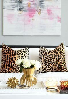 Bliss at Home Fall Home Tour with animal print designer Jamil pillows, gold accents, black and white glam decor