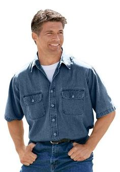 Short-Sleeve Denim Shirt by Boulder Creek®