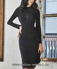 Sexy Langarm Bleistift Kleid in Schwarz