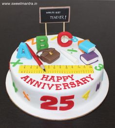 Teaching theme customized designer fondant cake for a teacher couple's 25th anniversary by Sweet Mantra - Customized 3D cakes Designer Wedding/Engagement cakes in Pune - http://cakesdecor.com/cakes/278657-teaching-theme-customized-designer-fondant-cake-for-a-teacher-couple-s-25th-anniversary