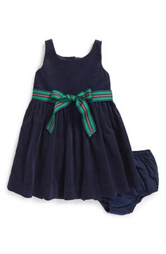 Ralph Lauren Sleeveless Corduroy Dress & Bloomers (Baby Girls) available at Kids Wear, Children Wear, Girl Outfits, Fashion Outfits, Frocks For Girls, Baby Bloomers, Sewing For Kids, Fit And Flare, Corduroy