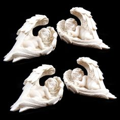 The Angelic Sleeping Cherub figurine set is made from a high quality off white resin The Sleeping Cherubs are painted with off white highlights