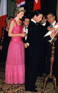 April 20, 1985: Princess Diana attending the opera at La Scala, Milan during the Royal Tour of Italy.