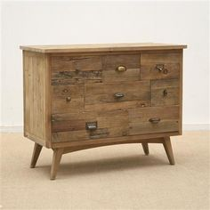 Small Elm Console with 8 Drawers