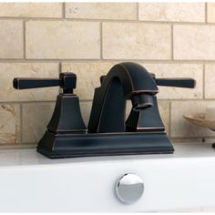 Kingston Brass 16523246 Fauceture Monarch Centerset Lavatory Faucet With Retail Pop-up Drain, Oil Rubbed Bronze - Oil Rubbed Bronze Lavatory Faucet, Undermount Sink, Bathroom Sink Faucets, Bathroom Fixtures, Towel Bar Height, Bathtub Accessories, Transitional Decor, Downstairs Bathroom, Amazing Bathrooms