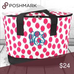 """LARGE COOLER TOTE W/LID *Adorable* Trendy cooler tote is great for picnics, tailgating or the beach. Embroidery will puncture insulation. Sticker monogram recommended.  Heavy-Duty Microfiber Construction * Canvas Trim and Handles * Insulated Oval Lid With Zip Around Closure * Fully Insulated * Plastic Feet on Bottom * Double Handles with 11"""" Drop * 13"""" Tall x 24"""" Wide (Top) x 17"""" Wide (Bottom) x 8.5"""" Deep Bags"""