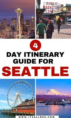 A 4 day Seattle itinerary with tips on must see places, where to eat, best tours, getting around, where to stay on a perfect trip to Seattle in 4 days. Usa Travel Guide, Travel Usa, Travel Tips, Travel Destinations, Fun Travel, Beach Travel, Travel Advice, Asia Travel, Budget Travel