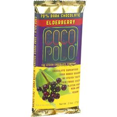 Coco Polo Chocolate Bar - 70 Percent Dark Elderberry - Case of 12 - 2.5 oz Bars