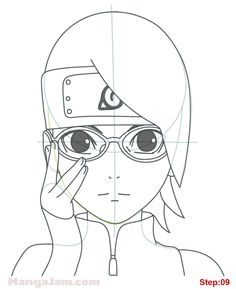 how_draw_sarada-uchiha_naruto_08 Naruto Drawings Easy, Kpop Drawings, Anime Drawings Sketches, Manga Drawing, Easy Drawings, Anime Naruto, Naruto Art, Anime Boy Sketch, Naruto Sketch